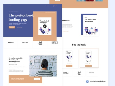 Vivlio - One page book template landing page author grid layout grid design design website one page book template webflow