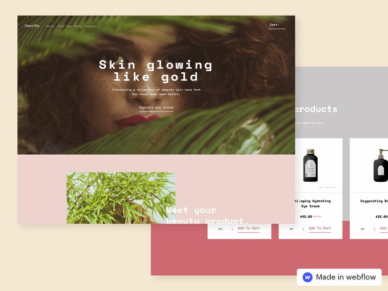 Omorfia – Ecommerce Website Template webflow grid layout clean landing page web ui design website fashion beauty ecommerce design ecommerce
