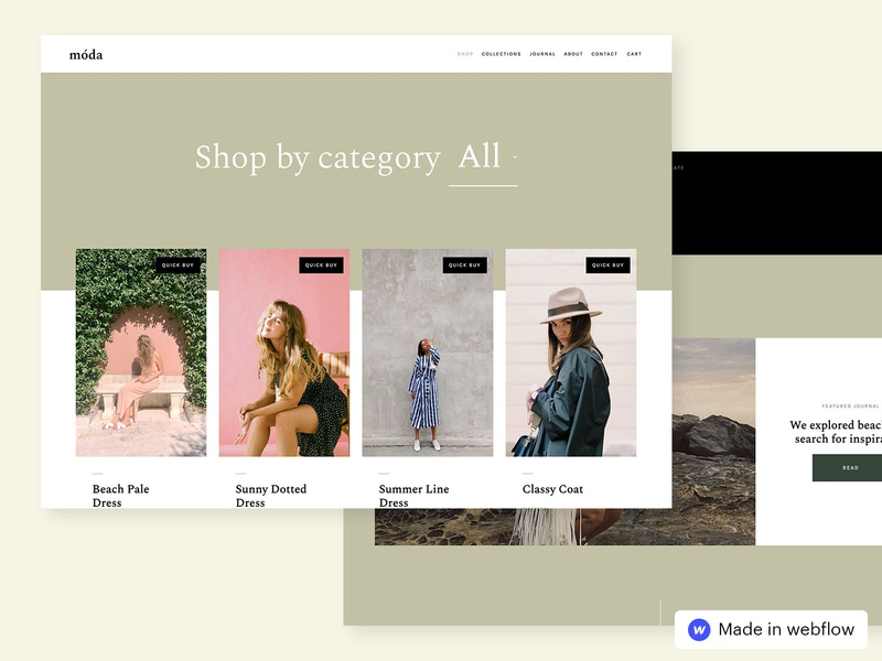 Moda – Ecommerce Website Template jewelry grid layout grid design website template sketch webflow ecommence clothes shop design fashion