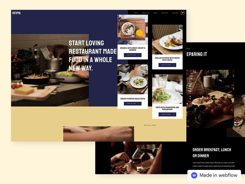 Gevma - Restaurant HTML5 Responsive Website Template ( Grid ) web design website responsive webflow template restaurant grid design grid layout grid