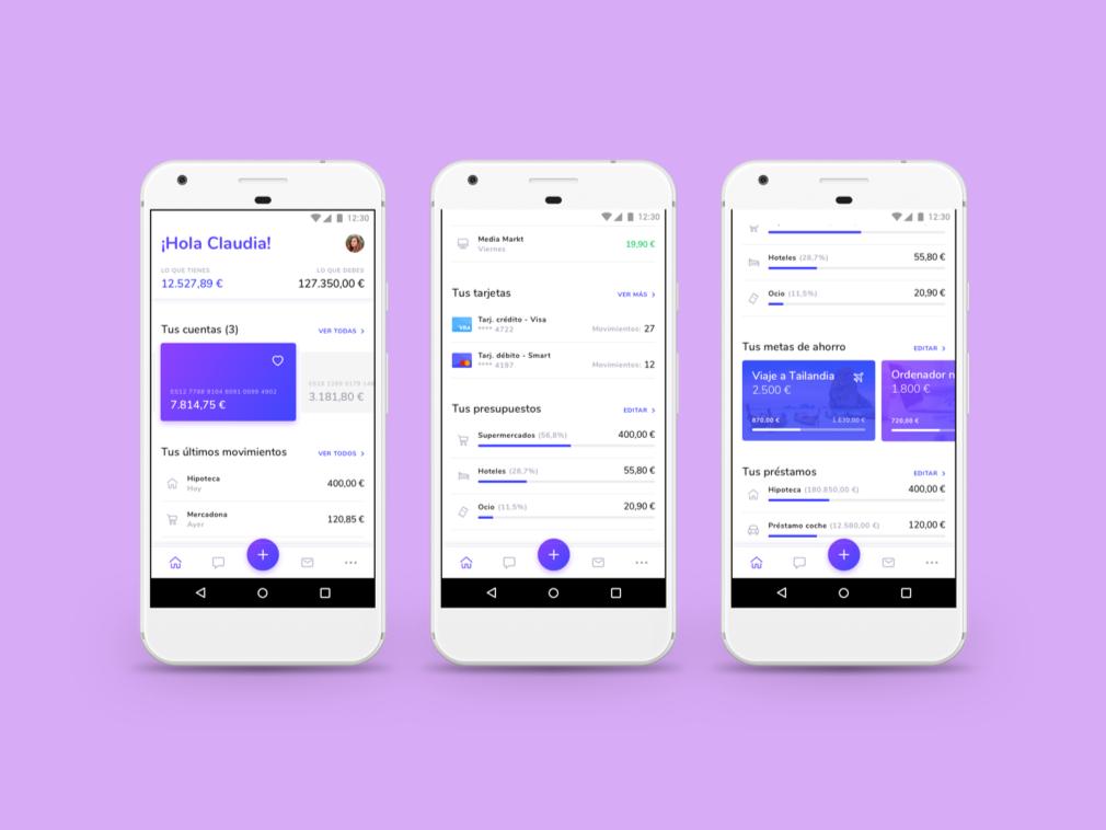 Finbank purple finance app ui dashboard uidesign bank app