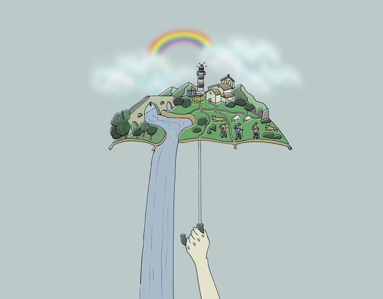 Asturias rainbow rain umbrella asturias vector design illustration digital painting adobe illustrator