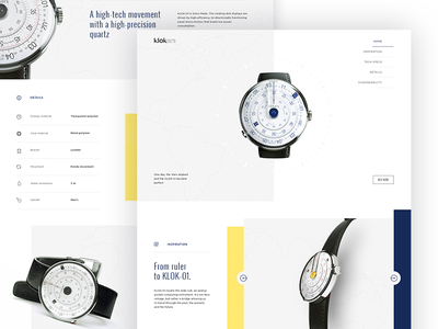 Klokers Watch landing page item card webdesign ux ui present patent display time ring yellow  blue watch e-commerce