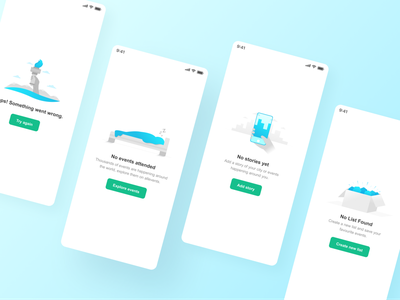 Empty states - AllEvents sky mobile illustration error empty state events design system grid layout figma ui