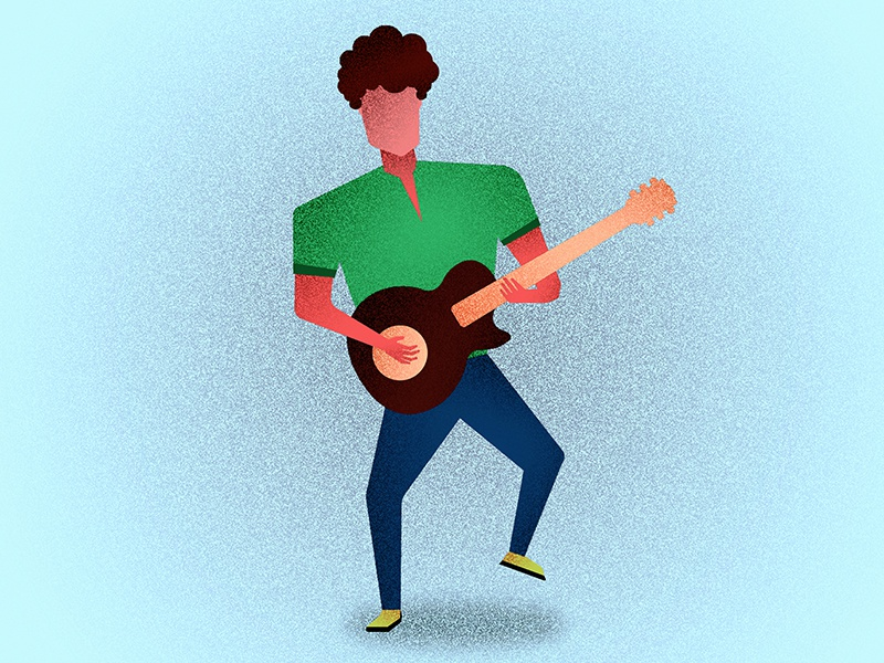 Guitarist #1 character 100k icon webdesign ux graphic ui music colorful grain illustration guitar