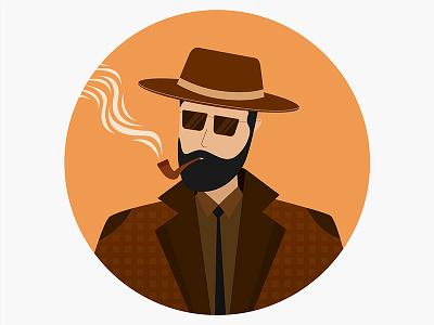 Detective india fashion goggles illustration gun sigar police smoke travel hat character detective