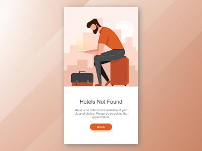 Hotels Not Found vfx 3d interface design city food illuatration error 404 uxdesign character art travel ui
