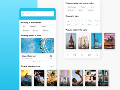 Search page design concept ux uiuxdesign ecommerce booking home automation fitnes white space negative space clean choice search box app design popular strategy event sport category cities bottom bar search
