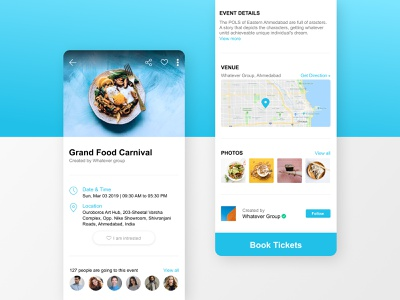 Event page design concept white clean ui movie booking app illustration branding organizer food delivery webdesign location map app ux writing ux design ui animation mobile app ticket diet food event