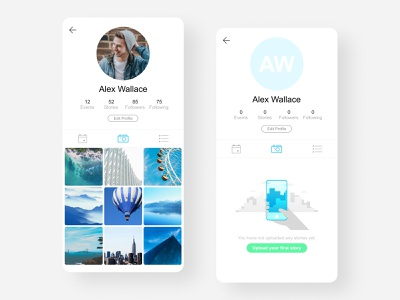 Profile dailyui ux ui webdesign typography ux process ui motion upload photo app placeholder clean app graphic illustration mobile empty screen branding blue stories post profile