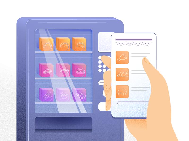 The Future of Food vending vendingmachine vending machine snack machine food 3d printer food printer future food food future food illustration food and drink food app food
