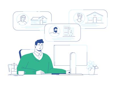 Real Estate Investor Digital Marketing illustration 02 reibar explainer explainer video character investor building house