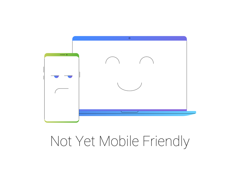 Not Yet Mobile Friendly laptop macbook iphone phone mobile stratup saas icon icons