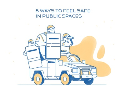 8 Ways To Feel Safe In Public Spaces explainer explainer video character characters illustration cops help blog illustration calm attack terrorist swat police security safe