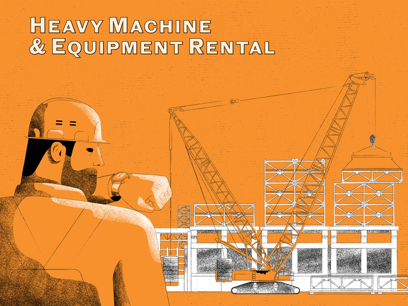 Heavy Machine & Equipment Rental (explainer video) rush on time time texture orange characters explainer video tractor truck construction
