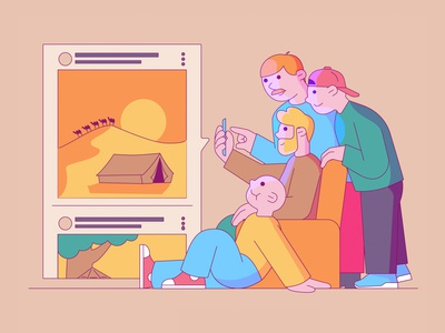 FRIENDS community family illustrations characters explainer video explainer crowd team feed scroll instagram facebook social network friends