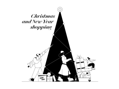 Christmas and New Year shopping new year christmas holidays winter holidays new year tree tree christmas tree shopping ecommerce store shop illustration characters