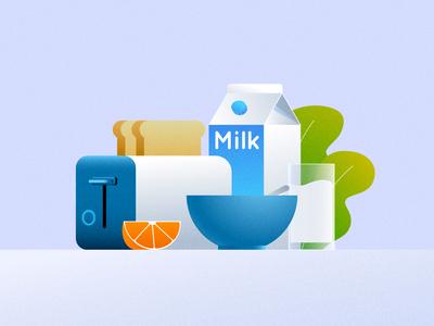 Food illustration style test 03 toasts style tests style test style development milk lunch fruits food dinner breakfast club breakfast