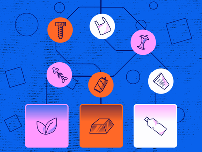 The holy grail of recycling: AI-powered robots icons design icons set gradient gradients trends icons sorting