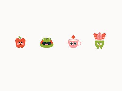 cutiepies funny apple frog cup pot sticker cutie cute branding flat art direction minimal character design artdirection design illustration