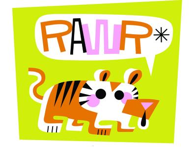 RAWR! graphicdesign lettering type typography flat design logo art illustration adobe illustrator tiger greeting card web ux ui vector