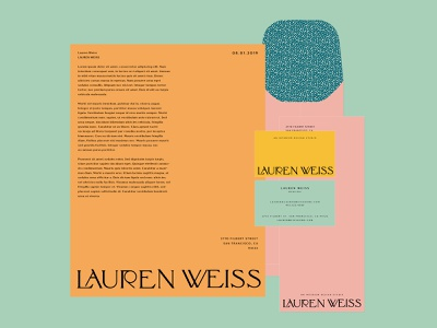 Lauren Weiss Collateral Concept type lockup type playful art deco modern logotype logo letterhead fun envelope color collateral design business card branding brand identity bold color bold