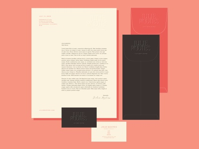 Julie Rootes Collateral Concept stationery design red colorful bold color bold feminine parisian modern envelope letterhead business card stationery collateral collateral design brand identity branding brand