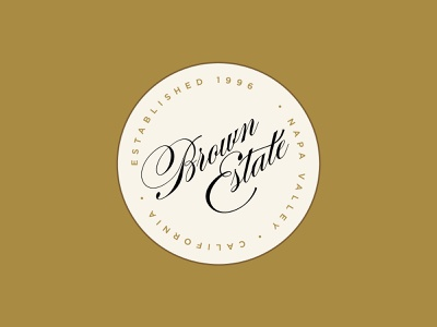 Brown Estate Coaster logotype patch seal script brand identity branding alcohol branding modern packaging coaster brown estate napa valley alcohol wine