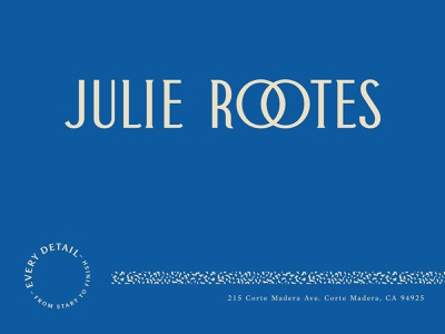 Julie Rootes Logo Concept interiors interior design type seal speckle pattern color blue art deco logotype colorful typography logo bold modern branding brand identity