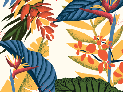 Hawaiian Florals leaves tropical leaves illustration art design flowers floral nature tropical hawaii hawaiian vintage retro vector pattern illustration