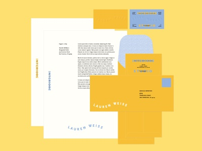 Lauren Weiss Collateral pattern youthful fun letterhead business card stationary collateral design collateral logotype colorful logo typography bold modern branding brand identity