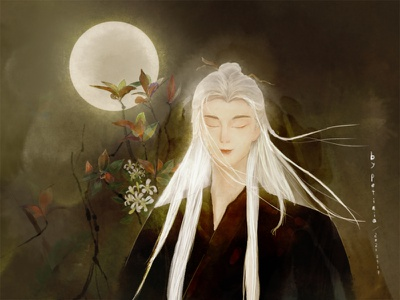 Man with moon 古风 人 man leaves tree 月亮 花 illustration chinese style moon