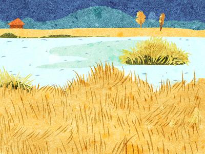 草海-  泸沽湖 插画,彩色 风景,