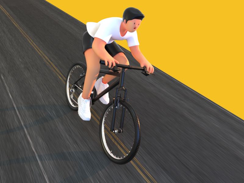 Boy riding a bike design bicycle ux 设计 c4d