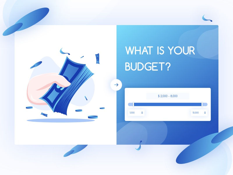 What is your budget ? web ux ui page online money landing budget clean blue