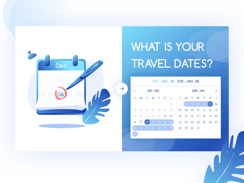 What are your travel dates ? travel planning illustration web ux ui page online landing clean date blue