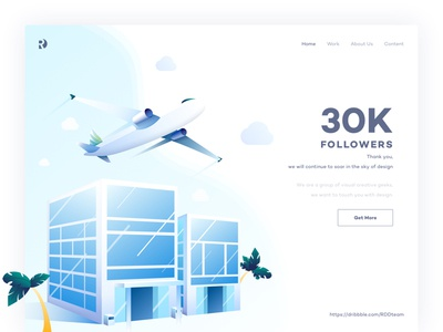 Soar in the sky of design illustration team blue web ui ux follower hotel travel landing page aircraft