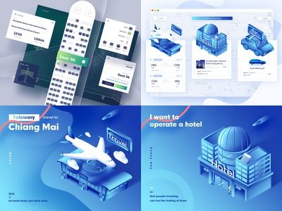 My 2018 #Top4Shots aircraft hotel fly airlines travel web ux blue illustration ui clean