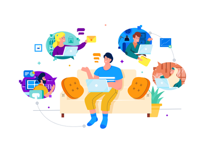 Work From Home Illustration freelancer freelance videocall workfromhome email call teamwork team work characters flat illustration gradient flat  design character design header character vector illustration