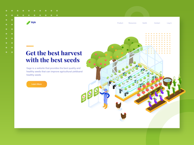 Bijik - Header Illustration Agricultural seed  website agriculture nature isometric illustration farmer greenhouse green fruits vegetables seedling farm web isometric gradient character design header character website design vector illustration
