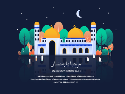 Marhaban ya Ramadhan marhaban ya ramadhan fasting praying fun stars night building ramadan kareem eid mubarak mosque ramadhan flat illustration flat  design gradient character design header character design vector illustration
