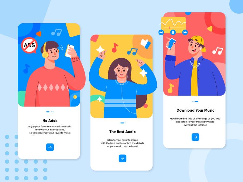 Gramofon - Music Apps music player onboarding apps screen fullcolor fun music app music app ux character design ui character design vector illustration