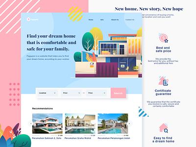 Pagupon - Realestate website landing page gradient real estate realestate house home flat  design ui character design header website design vector illustration