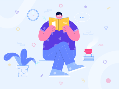 Exploration Illustration - Reading a Book work study reading app reading book read landingpage flat illustration flat  design character design header character design vector illustration