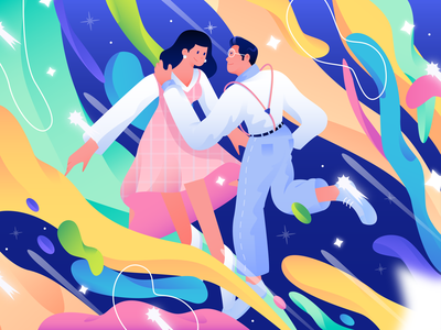 valentine illustration concept couple space illustration art magical fantasy imagination galaxy star lovely love valentines day valentine flat illustration gradient flat  design character design character design vector illustration