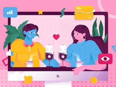 Podcast Illustration - Podcast Your Great Ideas view hobby love business youtube video fun idea podcasting podcast flat illustration gradient flat  design character design header website character design vector illustration