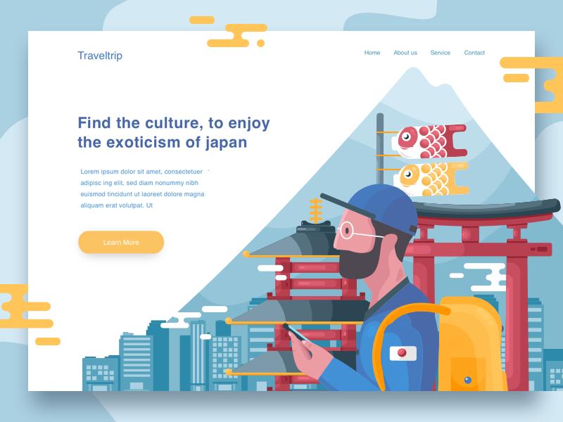Traveltrip landing page concept illustrator japan vector desktop landing page illustration blue website travel