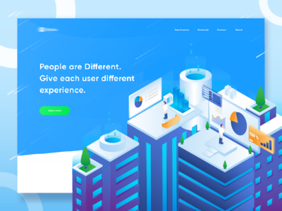 Business Landing page Concept homepage landing page business design ui isometric city 3d vector illustration