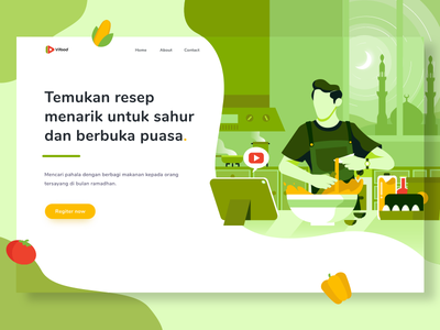 Header illustration exploration for food and recipe website 01