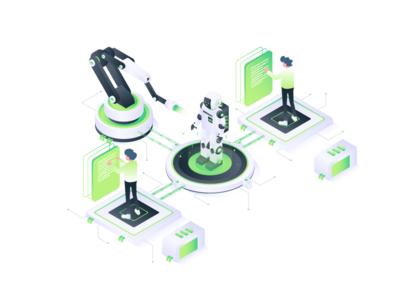 Work Collaboration Illustration people character robotic collaboration 3d ux isometric ui website design vector illustration